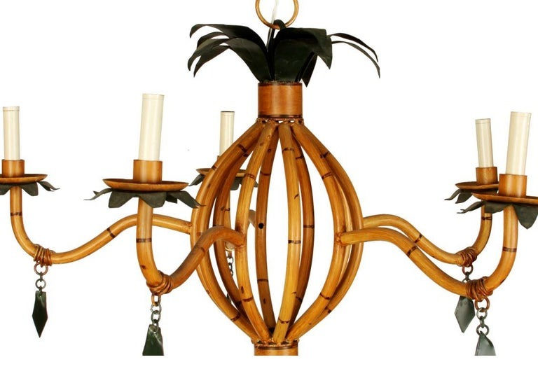 Unknown Pair of Vintage Faux Bamboo Chandeliers For Sale