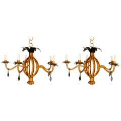 Pair of Vintage Faux Bamboo Chandeliers