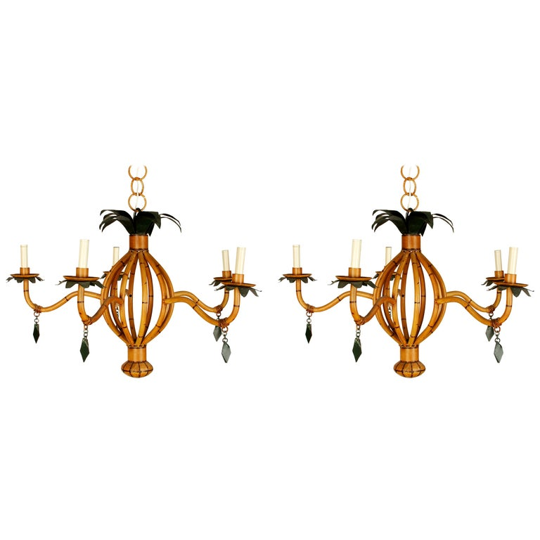 Pair of Vintage Faux Bamboo Chandeliers For Sale