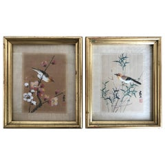 Pair of Vintage Framed Japanese Paintings of Birds on Silk