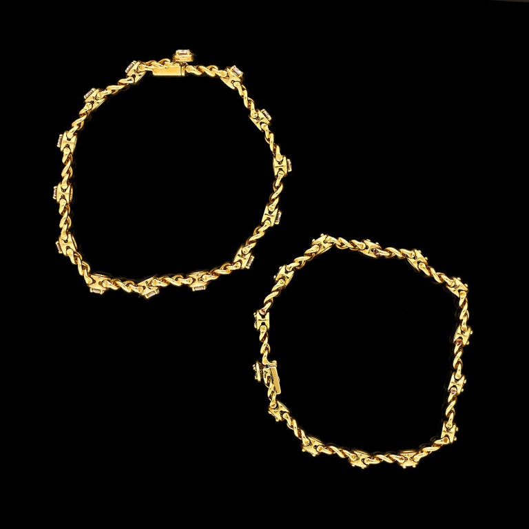 Van Cleef & Arpels Vintage French Gold and Diamond Bracelets c.1970 In Excellent Condition For Sale In London, GB