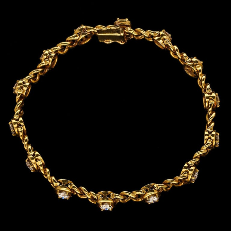Women's or Men's  Van Cleef & Arpels Vintage French Gold and Diamond Bracelets c.1970 For Sale