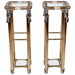 Pair of Vintage Hollywood Regency Pedestal Stands
