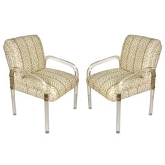 Pair of Vintage Leon Frost Lucite Chairs with China Seas Fabric
