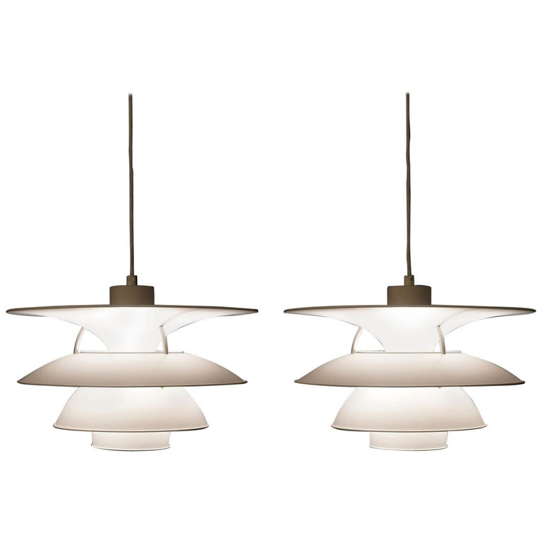 Pair of Vintage PH 5-4.5 White Charlottenborg Ceiling Lamps for Louis Poulsen For Sale