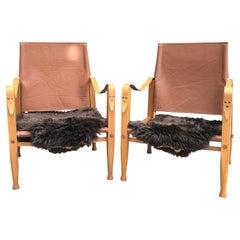 Pair of Vintage Refurbished Kaare Klint Safari Chairs from the 1960s