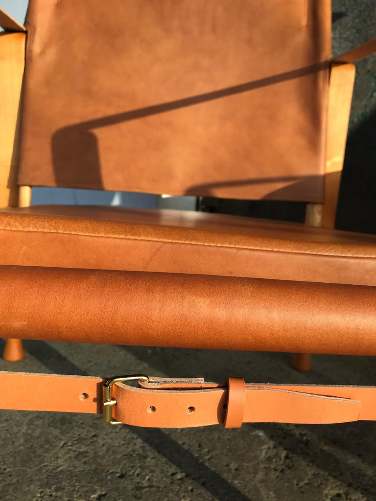 Hand-Crafted Pair of Vintage Refurbished Kaare Klint Safari Lounge Chairs For Sale