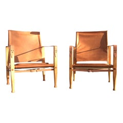 Pair of Vintage Refurbished Kaare Klint Safari Lounge Chairs