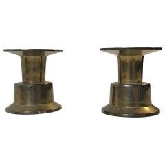 Pair of Vintage Scandinavian Hybrid Brass Candlesticks by Rolf Karlsson, 1960s