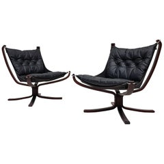 Pair of Vintage X-Framed Sigurd Ressell Designed Falcon Chairs, 1970s