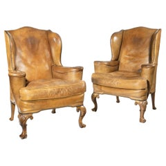 Pair of Walnut Wing Armchairs in the Queen Anne Style