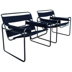 Pair of Wassily Chairs with Anodised Black Frames, Italy, 1980s