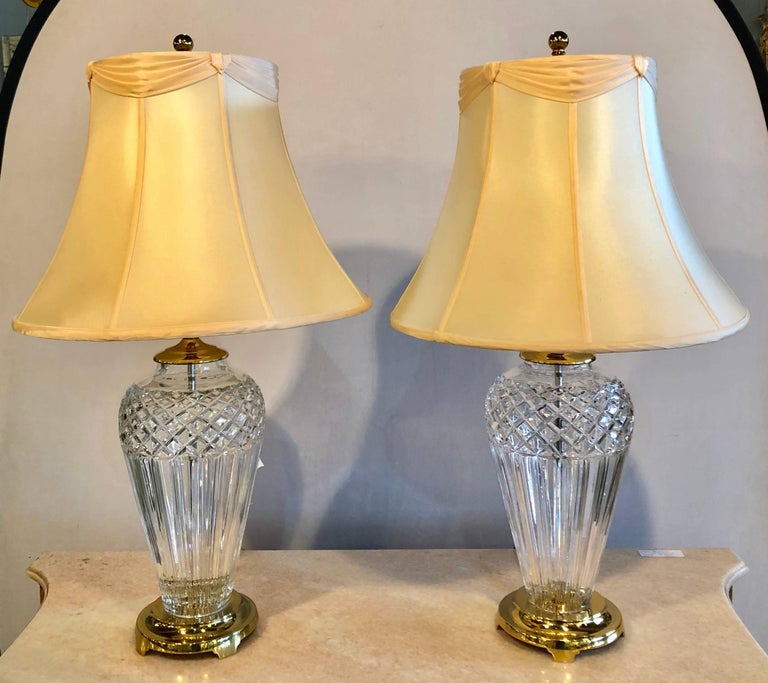 Pair Of Waterford Crystal Signed Table Lamps With Stunning