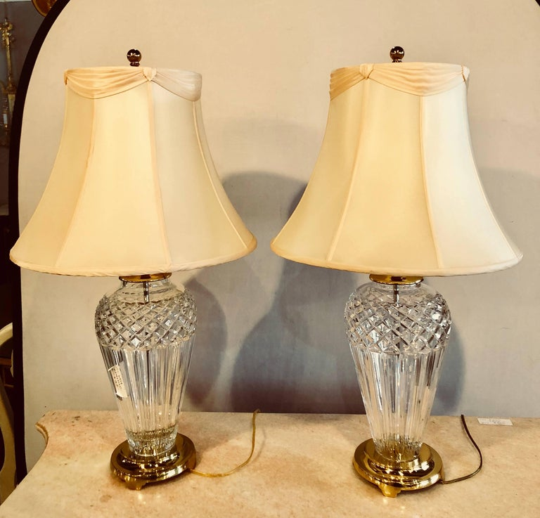 Waterford Crystal Signed Table Lamps, Waterford Crystal Table Lamp Shades