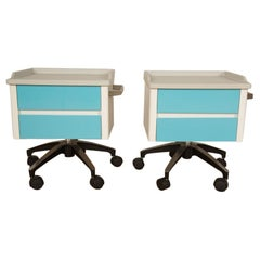 Pair of White and Blue Two Drawers Side Cabinets on Rolling Base, 1970s