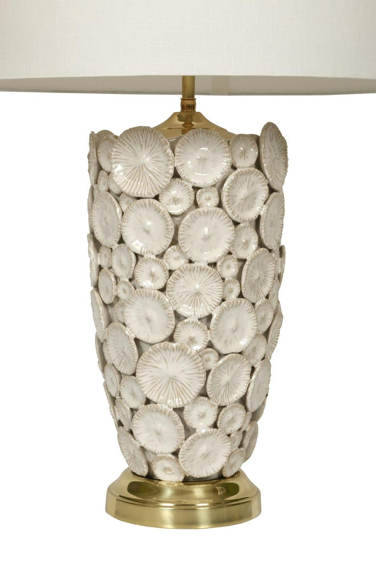 American Pair of White Ceramic Lamps For Sale