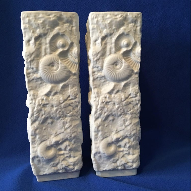 Pair of White Fossil Rock Matte  Porcelain Vases by Kaiser of Germany In Good Condition For Sale In Frisco, TX