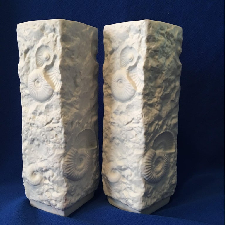 Late 20th Century Pair of White Fossil Rock Matte  Porcelain Vases by Kaiser of Germany For Sale