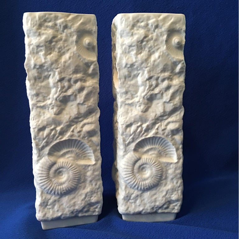 Pair of White Fossil Rock Matte  Porcelain Vases by Kaiser of Germany For Sale 1