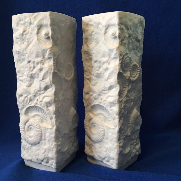 Pair of White Fossil Rock Matte  Porcelain Vases by Kaiser of Germany For Sale 2