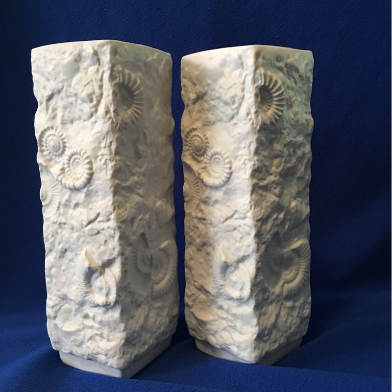 Pair of White Fossil Rock Matte  Porcelain Vases by Kaiser of Germany For Sale 4