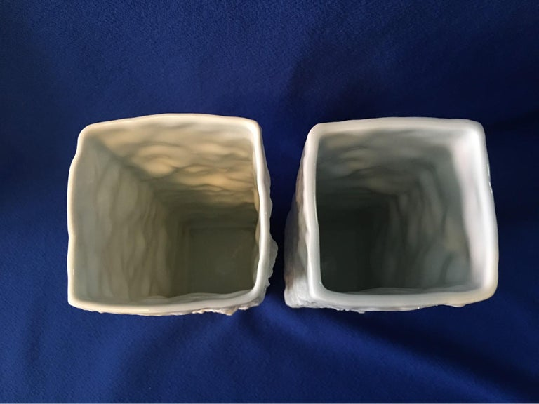 Pair of White Fossil Rock Matte  Porcelain Vases by Kaiser of Germany For Sale 5