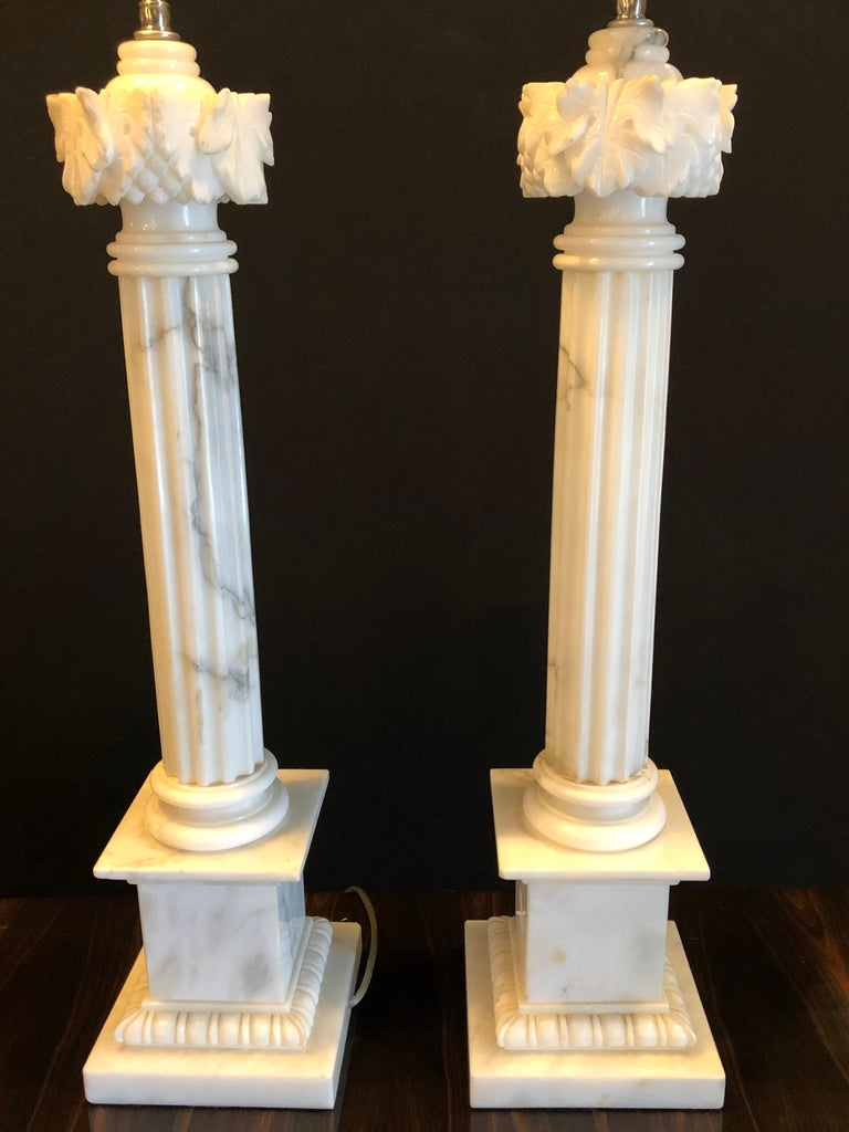 Pair of White and Grey Veined Column Marble Table Lamps with Custom Shades In Good Condition For Sale In Stamford, CT