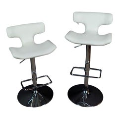 Pair of White Leather and Chrome Modern Adjustable Swivel Bar Stools