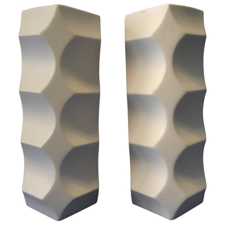 Pair of White Matte Vases by Heinrich Fuchs, Hutschenreuther Germany For Sale