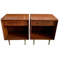 Pair of Widdicomb Nightstands with Brass Legs