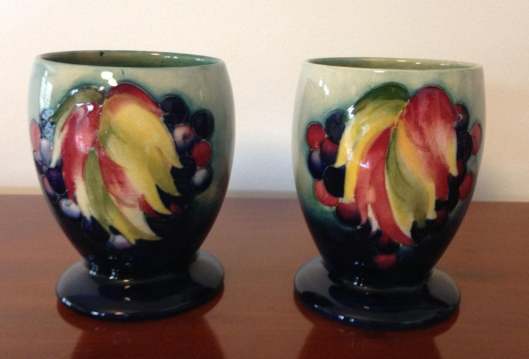 British Pair of William Moorcroft Leaf and Berry Pattern Goblets, circa 1930 For Sale