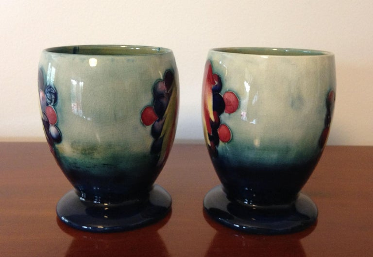 Glazed Pair of William Moorcroft Leaf and Berry Pattern Goblets, circa 1930 For Sale