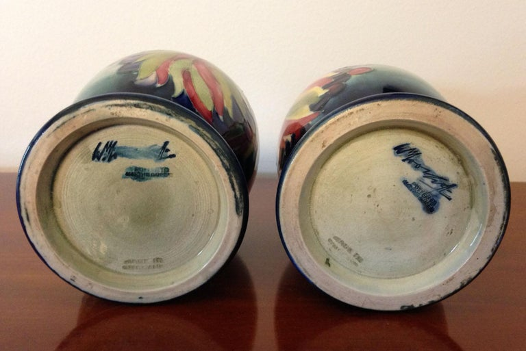 Pair of William Moorcroft Leaf and Berry Pattern Goblets, circa 1930 In Good Condition For Sale In Melbourne, Victoria