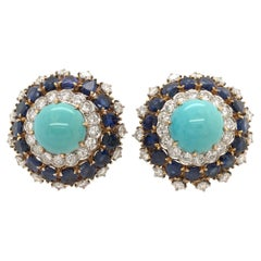 Pair of Yellow Gold, Turquoise, Sapphire and Diamond Earrings