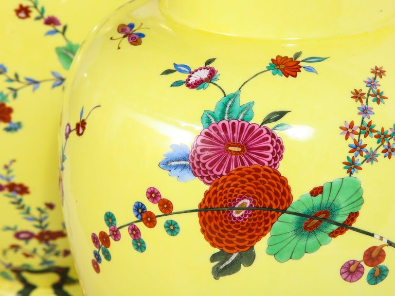 Pair of Yellow Ground German Porcelain Vases with Flower and Bird Decoration For Sale 5