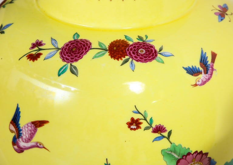Pair of Yellow Ground German Porcelain Vases with Flower and Bird Decoration For Sale 7