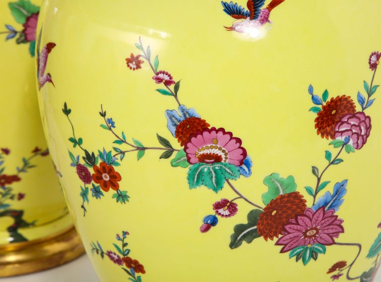 Pair of Yellow Ground German Porcelain Vases with Flower and Bird Decoration For Sale 8