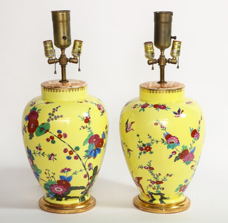 A pair of beautiful yellow ground German porcelain vases mounted as lamps hand painted with flowers, bird and insect decorations. Each of these lamps are beautifully hand painted with a gorgeous yellow ground and further detailed with colorful