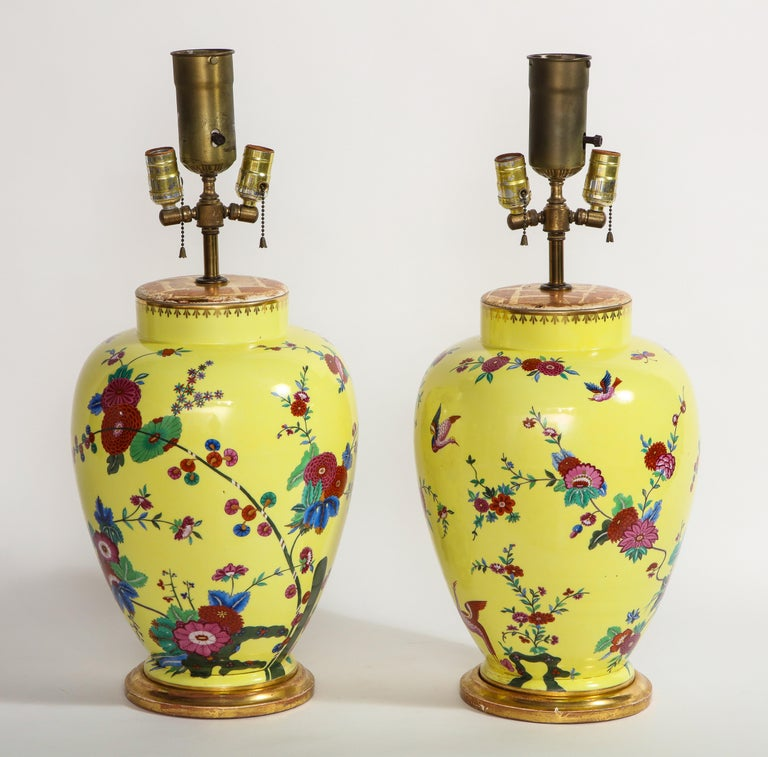 Chinese Export Pair of Yellow Ground German Porcelain Vases with Flower and Bird Decoration For Sale