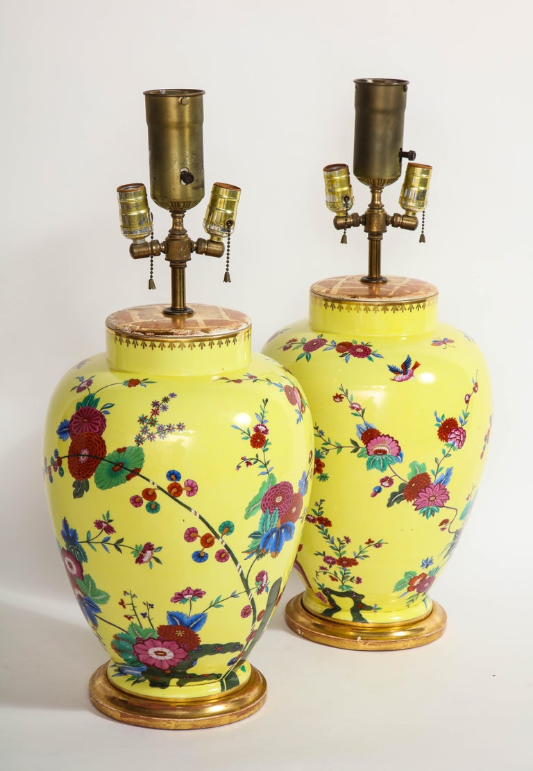 Gilt Pair of Yellow Ground German Porcelain Vases with Flower and Bird Decoration For Sale