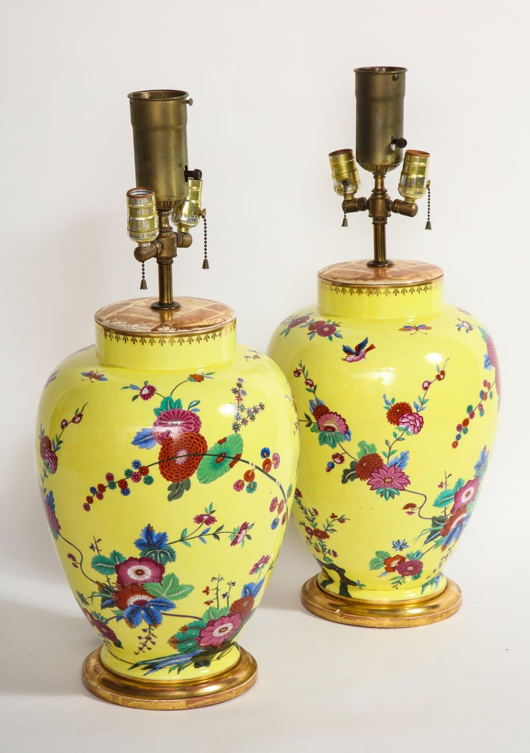 Pair of Yellow Ground German Porcelain Vases with Flower and Bird Decoration In Good Condition For Sale In New York, NY