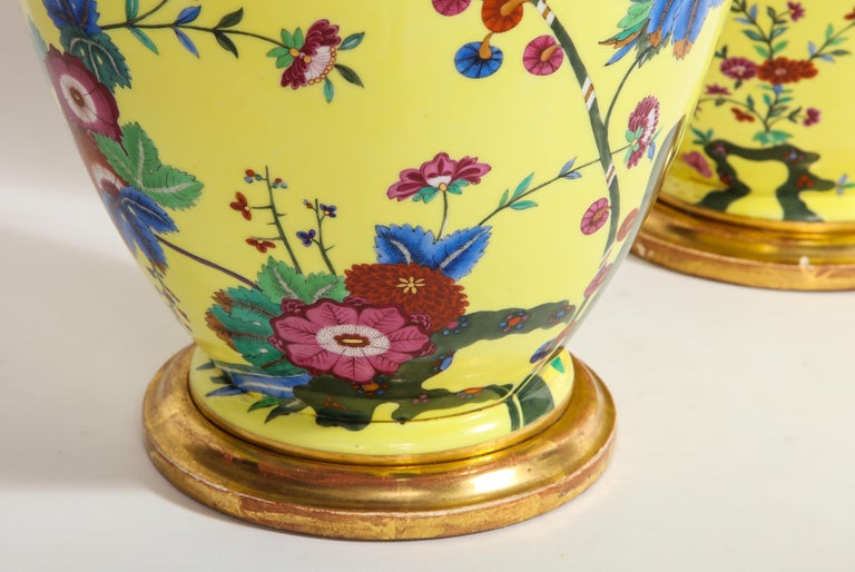 Late 19th Century Pair of Yellow Ground German Porcelain Vases with Flower and Bird Decoration For Sale