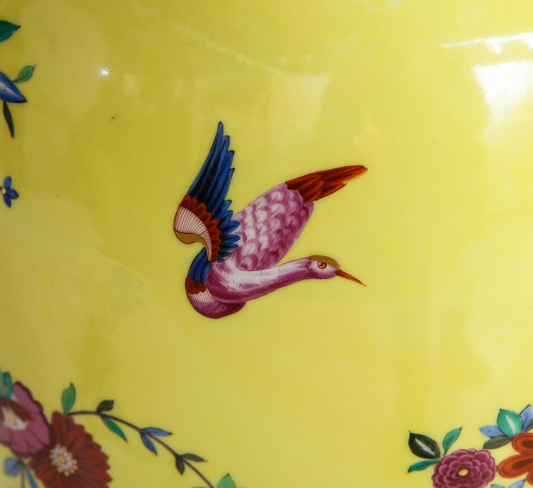 Pair of Yellow Ground German Porcelain Vases with Flower and Bird Decoration For Sale 2