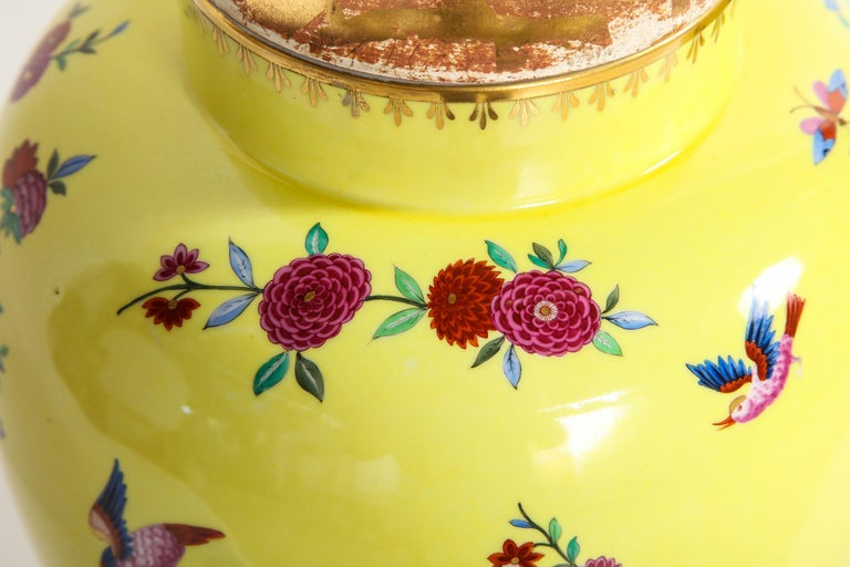Pair of Yellow Ground German Porcelain Vases with Flower and Bird Decoration For Sale 3