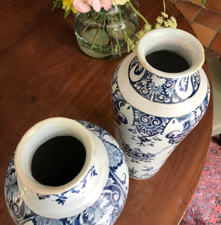 Pair off Delft Vases, Late 18th Century For Sale 2