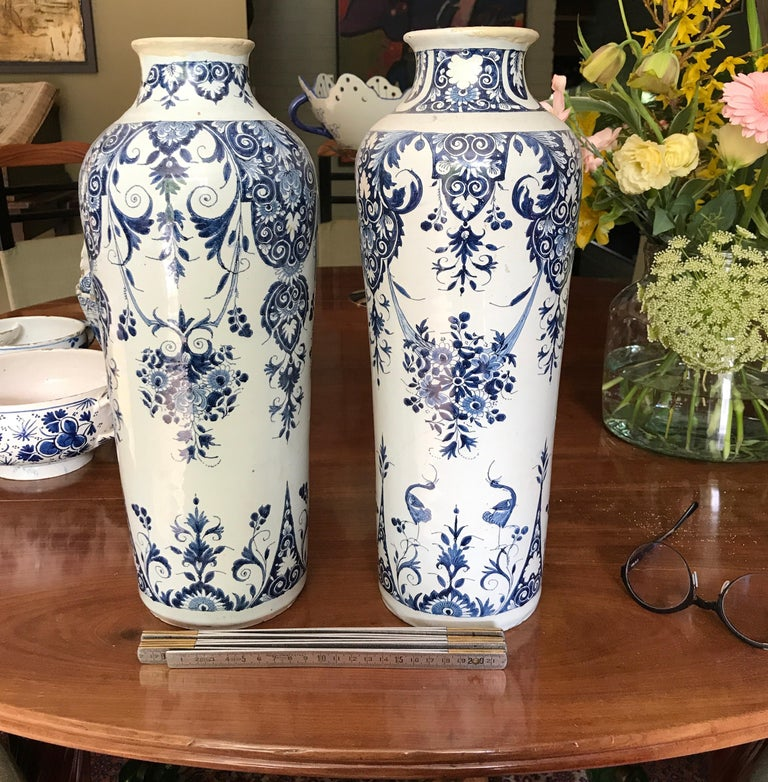 Pair off Delft Vases, Late 18th Century For Sale 5
