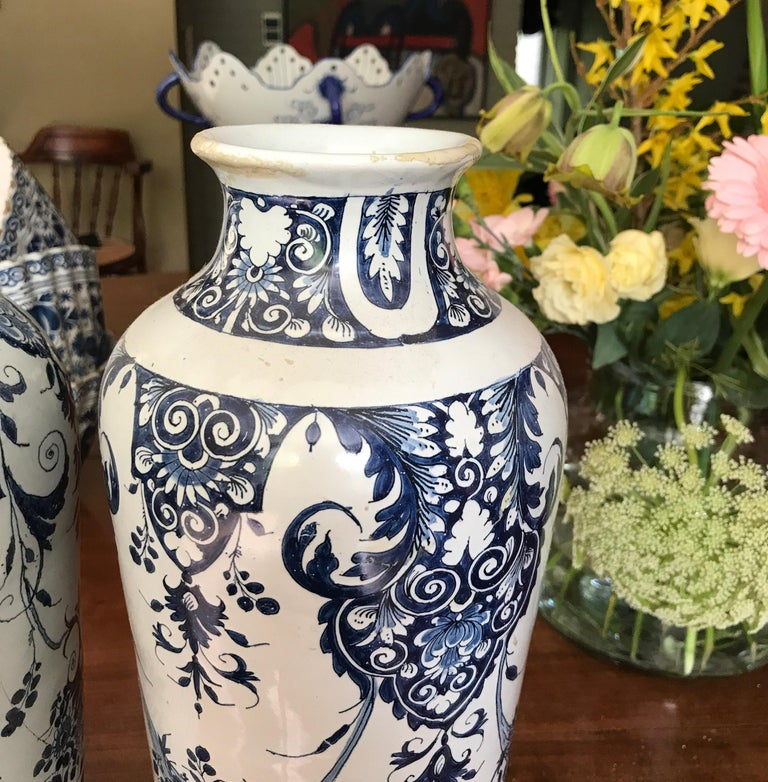 Louis Philippe Pair off Delft Vases, Late 18th Century For Sale