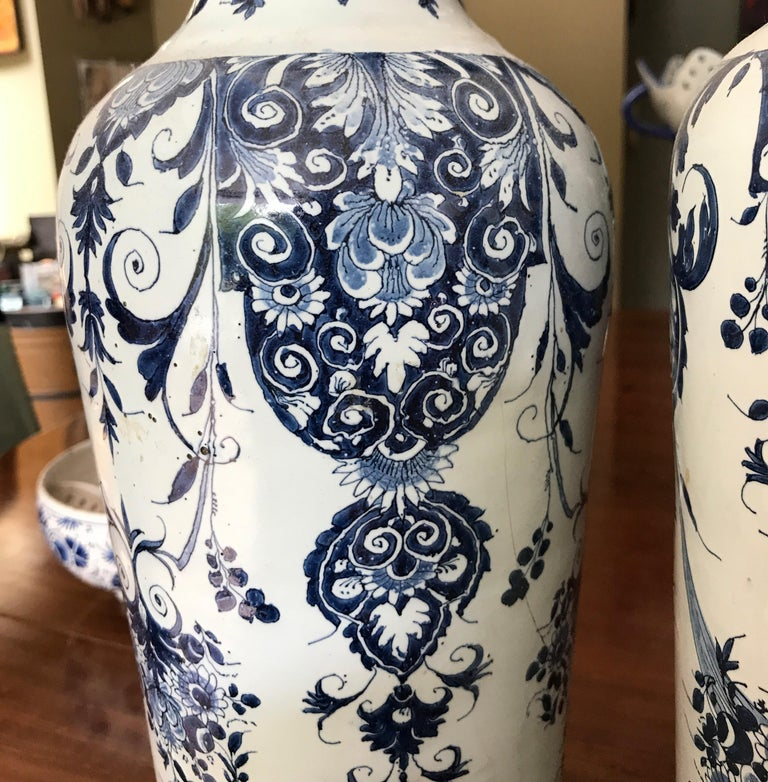 Dutch Pair off Delft Vases, Late 18th Century For Sale