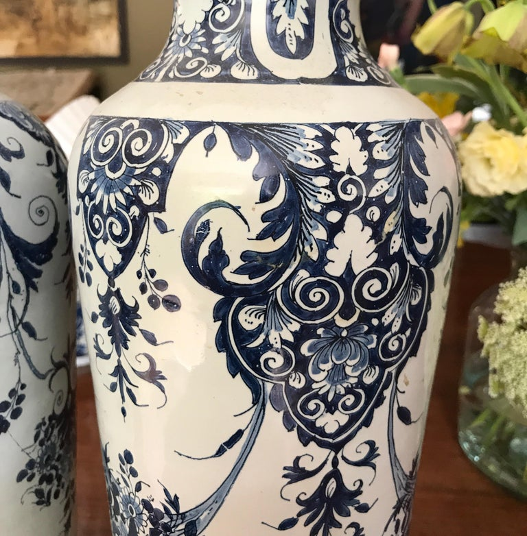 Hand-Crafted Pair off Delft Vases, Late 18th Century For Sale