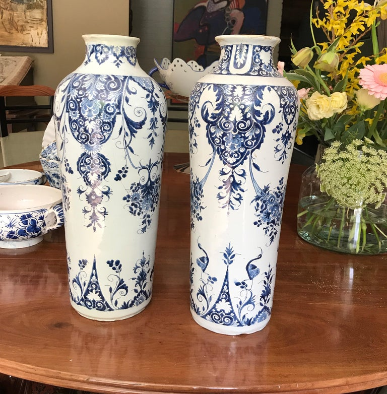 Faience Pair off Delft Vases, Late 18th Century For Sale